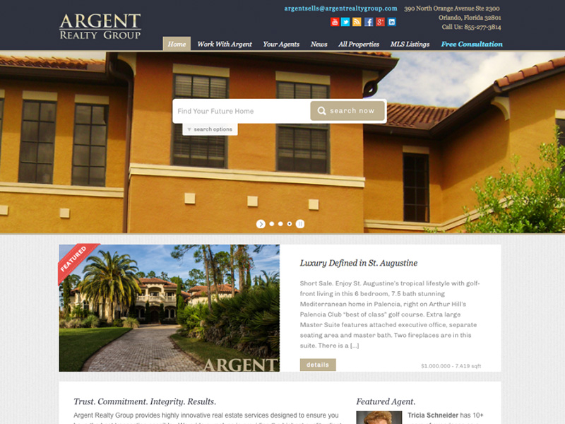 Argent Realty Group website design & development by Rodezno Studios.