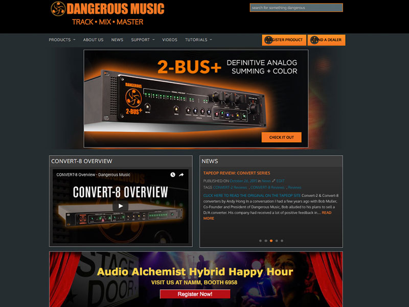 Dangerous Music website redesign by Rodezno Studios.