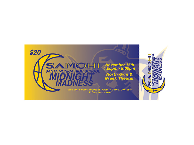 SMHS (Santa Monica High School) Midnight Madness 2016 ticket logo & graphic design by Rodezno Studios.