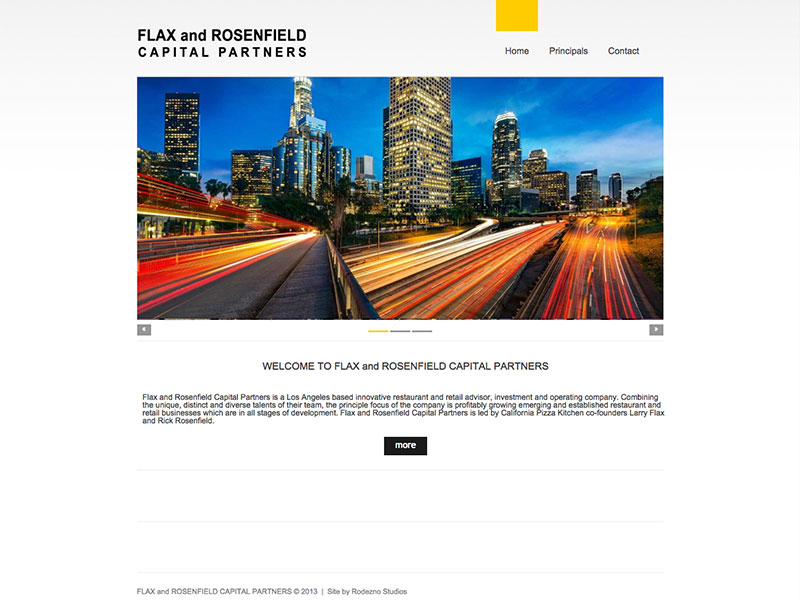 Flax and Rosenfield Capital Partner website by Rodezno Studios.