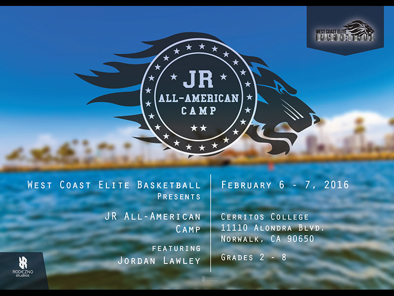 West Coast Elite Basketball WCEB JR All-American Camp logo & info graphic design by Rodezno Studios.