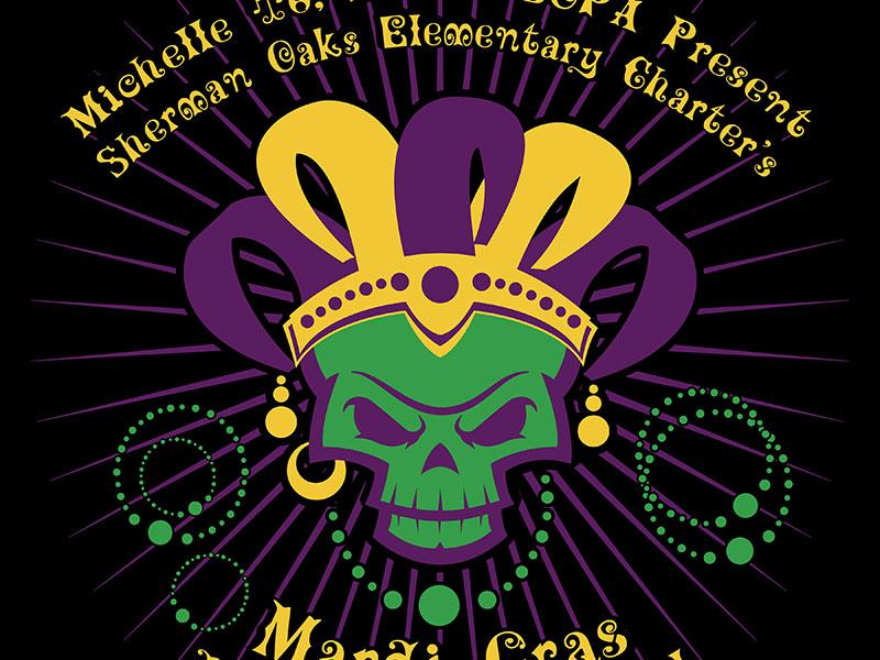 Evil Mardi Gras Skull King logo & graphic design by Rodezno Studios for SOEC (Sherman Oaks Elementary Charter) Halloween Carnival 2016.